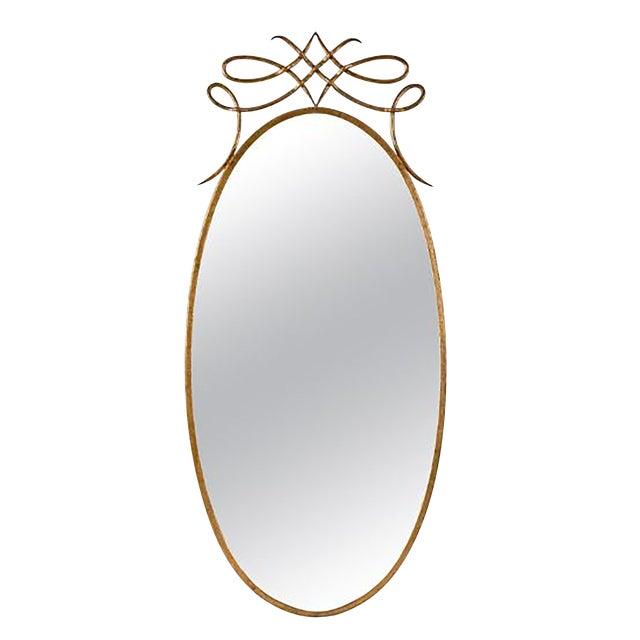 Early 20th Century Art Deco Italian Brass Mirror For Sale