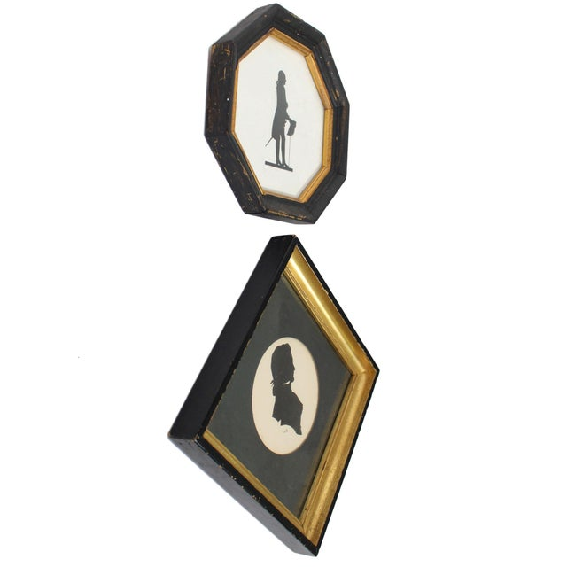 Framed 18th Century Male Silhouette Pair For Sale - Image 4 of 5