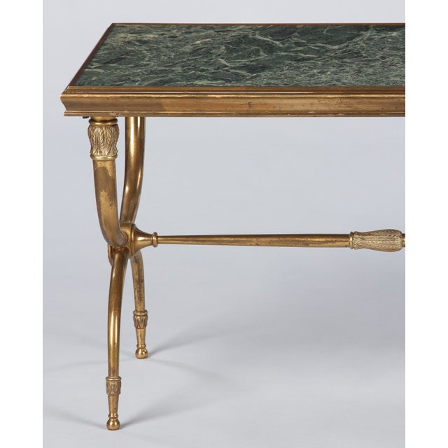 1950s French Mid-Century Brass and Marble Coffee Table For Sale - Image 5 of 13