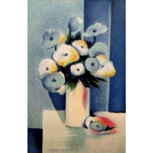 Jean-Louis Honnet Fleurs Bleues Lithograph, Signed Paper Size: 15 x 11 inches Image Size: 12 x 8 inches Condition: A-:...