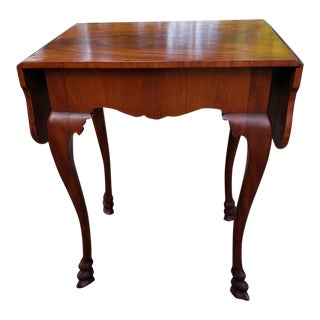 Mid 20th Century Flame Mahogany Drop Leaf Side Table For Sale