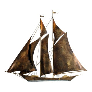 Mid-Century Brass & Steel Sailboat Wall Sculpture For Sale