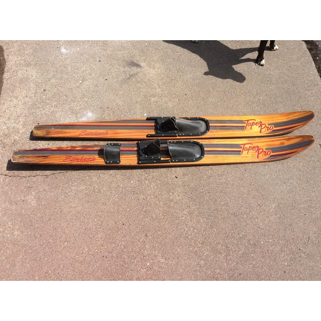 Lodge Vintage Wooden Water Skis - A Pair For Sale - Image 3 of 5
