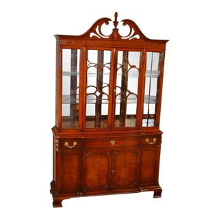1950s Regency Style Mahogany China Cabinet For Sale