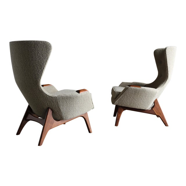 Adrian Pearsall for Craft Associates Wing High Back Chairs - a Pair For Sale