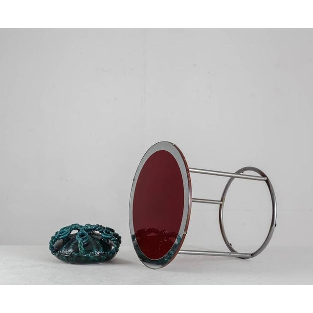1920s Tubular Metal Table with Red Wood and Glass Top, England - Image 3 of 8