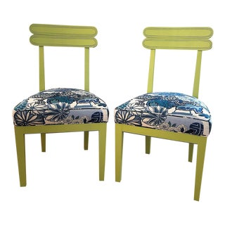 Modern Hickory Custom Made Chinoiserie Chairs With Schumacher Fabric- A Pair For Sale