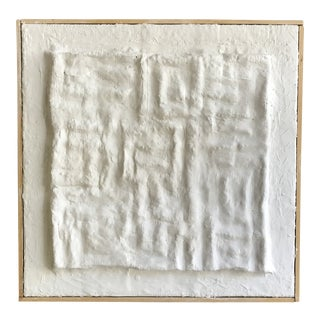 'Gridlines' Framed Minimalist Plaster Painting For Sale