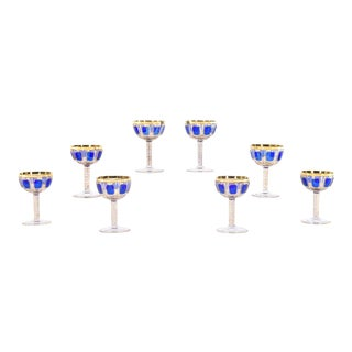 Set of Eight Moser Cobalt Blue and Gold Panel Cut Champagne Coupes For Sale