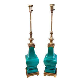 Stiffel Glazed Teal Urn Lamps - A Pair
