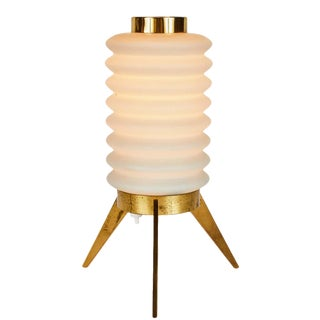 1950s Angelo Lelli Glass and Brass Tripod Table Lamp for Arredoluce For Sale