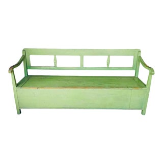 Painted Green Bench With Storage, France, 19th Century For Sale