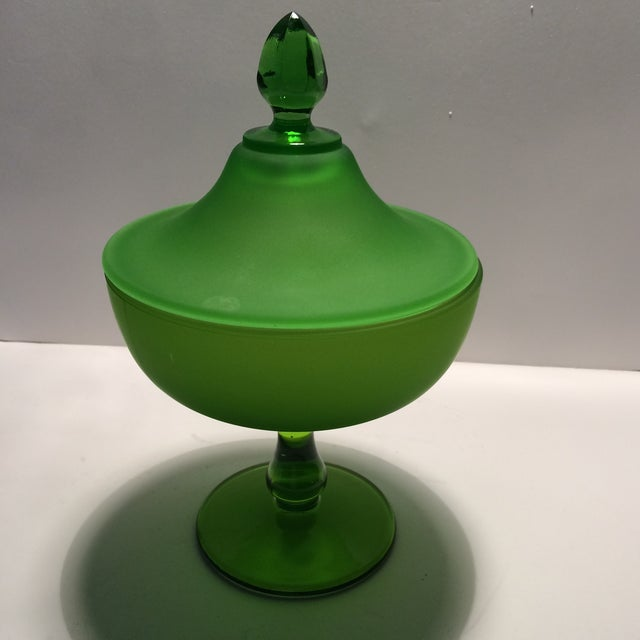 Hollywood Regency 1940's Vintage Green Westmorland Green Glass Candy Dish For Sale - Image 3 of 11