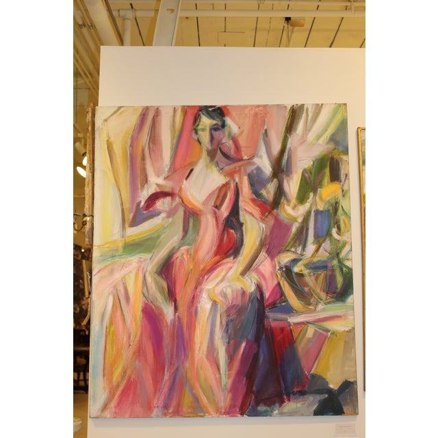 "Figurative ""Woman in Pink Gown"" by Barbara Yeterian For Sale - Image 3 of 3"