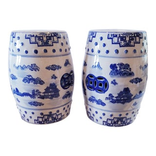 Blue and White Asian Stools For Sale