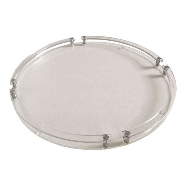 Modern Round Lucite & Metal Tray For Sale