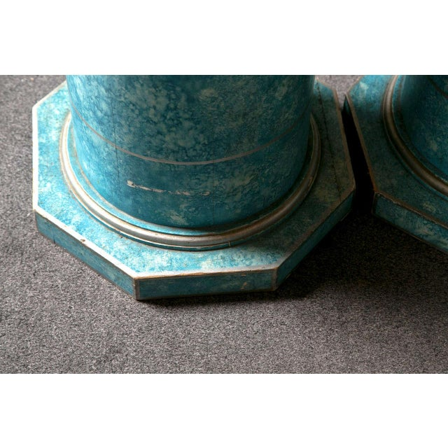 Blue Painted Pedestals - A Pair For Sale In New York - Image 6 of 8