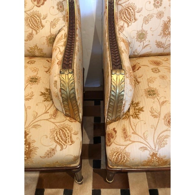 Lovely Pair of Carved Gilded Wood and Upholstered French Bergère For Sale - Image 9 of 13