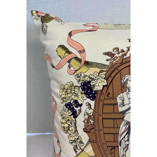 """Traditional Hermès of Paris """"A La Gloire De La Cuisine Française"""" Silk Scarf Pillow For Sale - Image 3 of 12"""