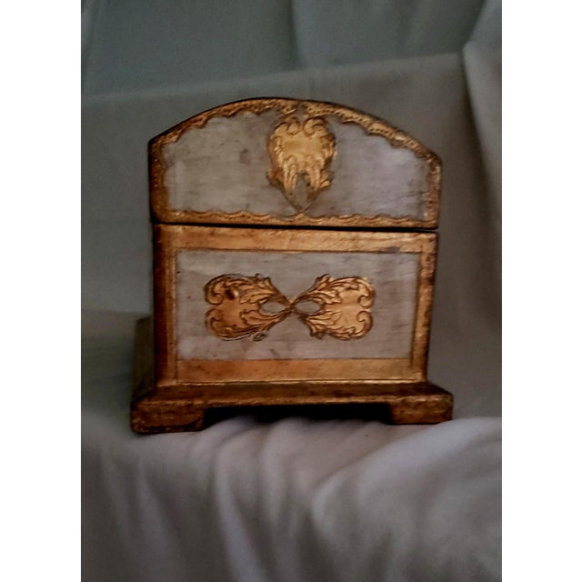 Hollywood Regency Italian Florentine Treasure Chest Trinket Box For Sale - Image 3 of 5