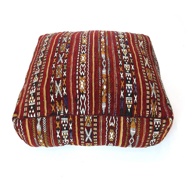 Islamic Vintage Moroccan Textile Floor Cushion For Sale - Image 3 of 6