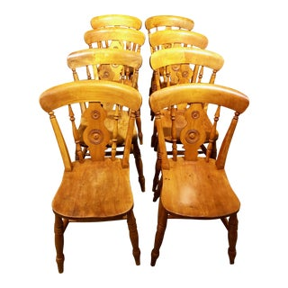 Signed Mid-19th Century English Pine Bullseye Dining Chairs - Set of 8