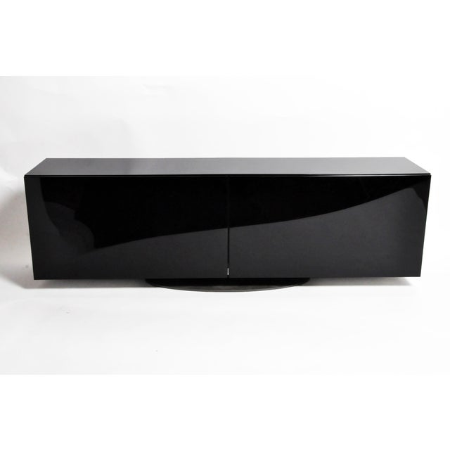 1980s Black Lacquer Console With Sliding Doors For Sale - Image 4 of 13
