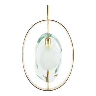Max Ingrand Brass Glass Pendant Lamp Light Model 1933 for Fontana Arte, 1961 For Sale