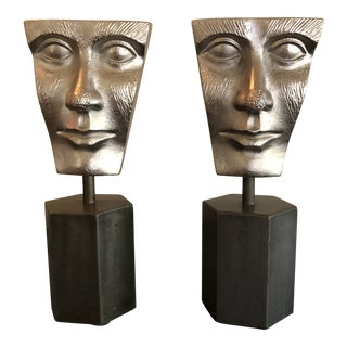Abstract Style Bookends of Faces - a Pair For Sale