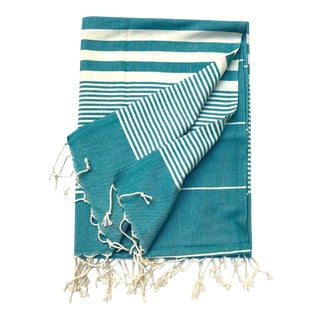 Turkish Tamam Teal Jaunty Stripes Handwoven Cotton Towel For Sale