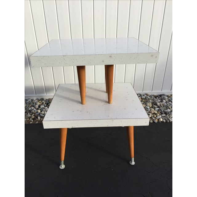 Mid-Century Two-Tier Formica Starburst Side Table - Image 4 of 8