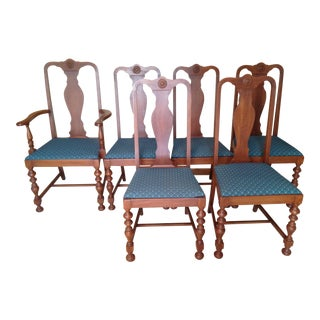 1950s Vintage Traditional Mahoagny Dining Room Chairs - Set of 6 For Sale