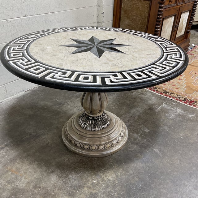 Hollywood Regency Tessellated Stone Top Greek Key Entryway Game Table For Sale - Image 3 of 12
