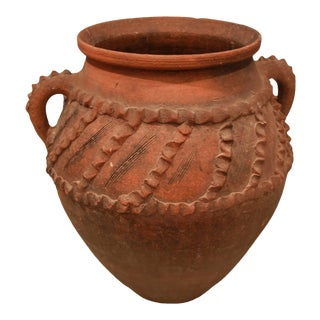 Vintage Mid-20th Century Rustic Style Terracotta French Urn For Sale