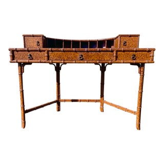 Vintage Demilune Desk in the Manner of Maitland Smith For Sale