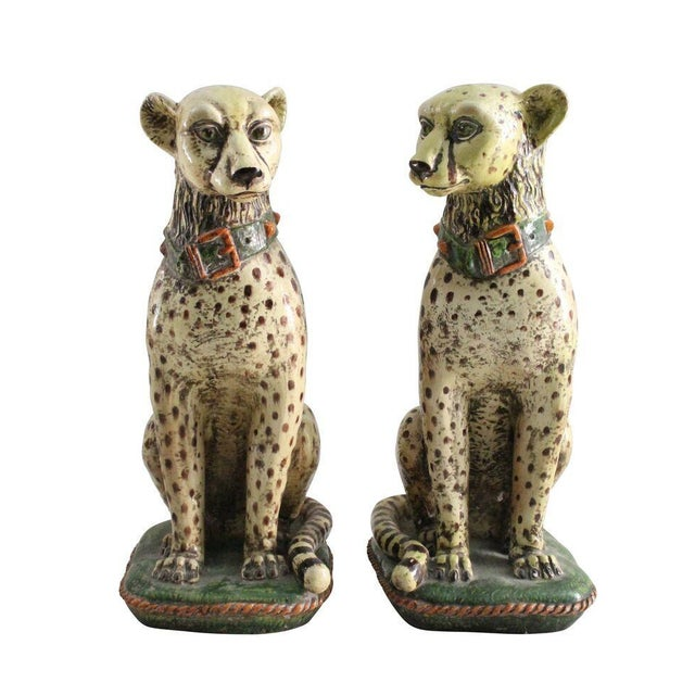Terracotta Cheetah Statues - A Pair - Image 1 of 3