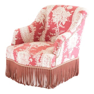 Antique Napoleon III Style Floral Crapaud Chair With Bullion Fringe