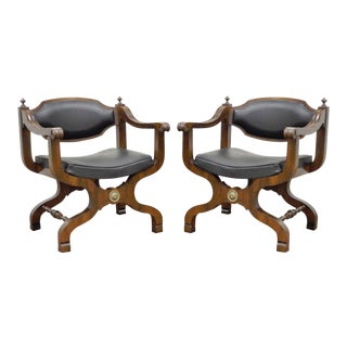 Pair of Vintage Oak Curule Throne Spanish Renaissance Style Lounge Arm Chairs