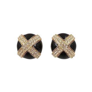 1980s Ciner Black Enamel Pavé X Rhinestone Earrings For Sale