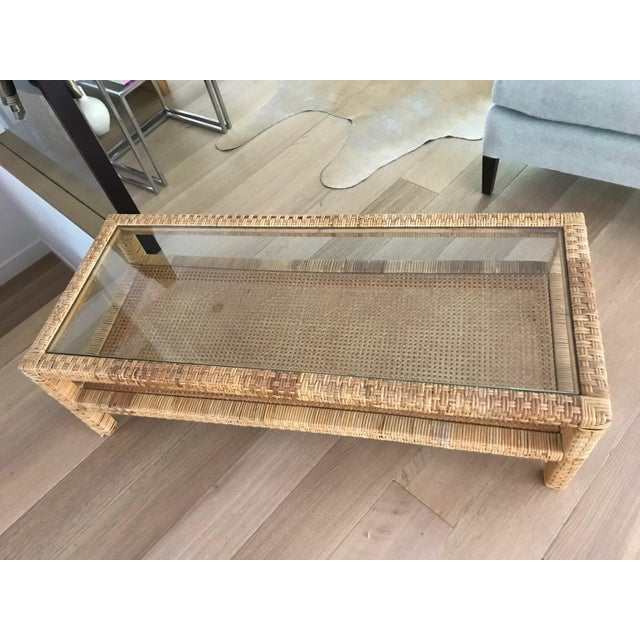 Boho Chic Rattan Wrapped Glass Top Coffee Table For Sale - Image 3 of 6
