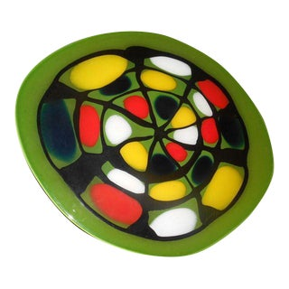 Abstract Art Glass Table Sculpture Charger