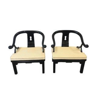 Mid-Century James Mont Style Chinese Black Lacquer Arm Chairs - a Pair