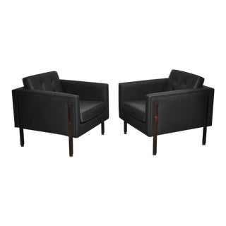 Harvey Probber Rosewood and Black Leather Club Chairs For Sale