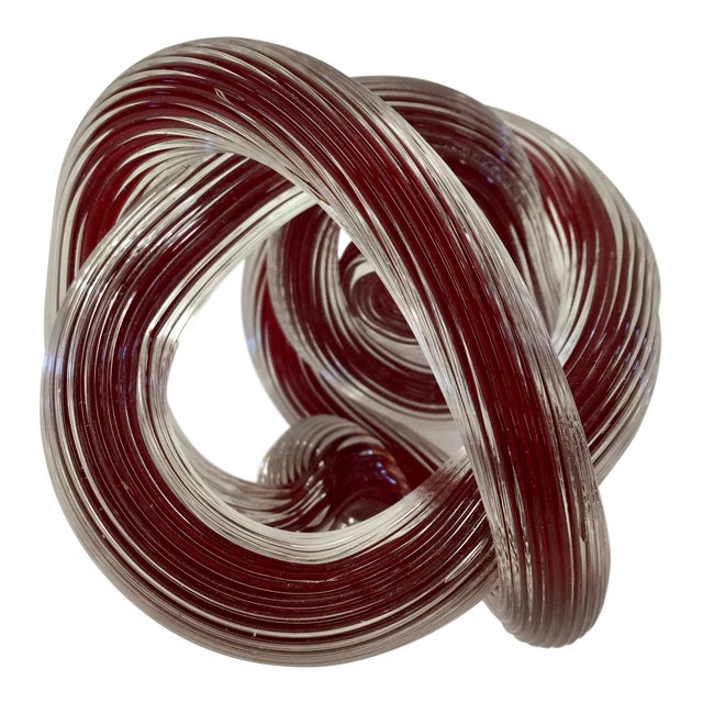 Zanetti Murano Style Ruby Red Glass Knot For Sale