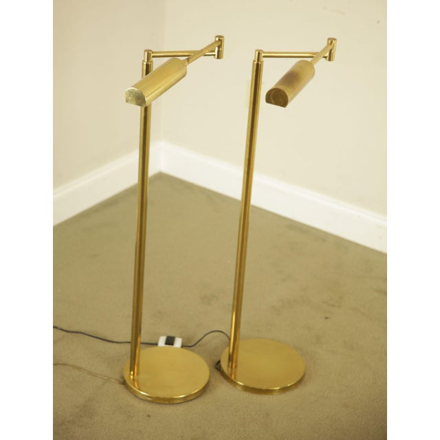 Mid-Century Modern Koch & Lowy OMI Vintage Brass Pair Swing Arm Floor Lamps For Sale - Image 3 of 12