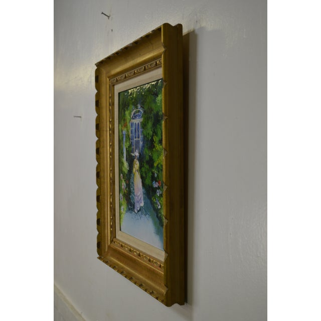 Blue Parthesius Enamel on Copper Southern Belle Framed Painting For Sale - Image 8 of 11