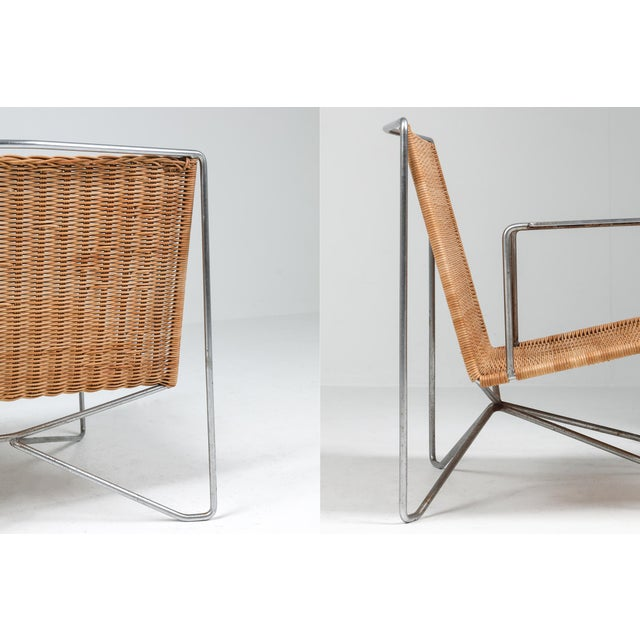 1960s Rattan & Steel Armchairs by Gelderland - a Pair For Sale - Image 11 of 13