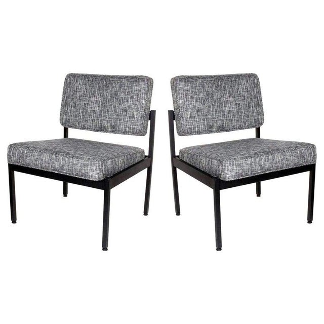 Pair of Mid-Century Modern Tweed Industrial Chairs in the Style of Knoll For Sale - Image 11 of 11