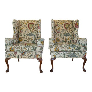 Vintage Hickory Chair Crewel Embroidered Wingback Chairs - a Pair