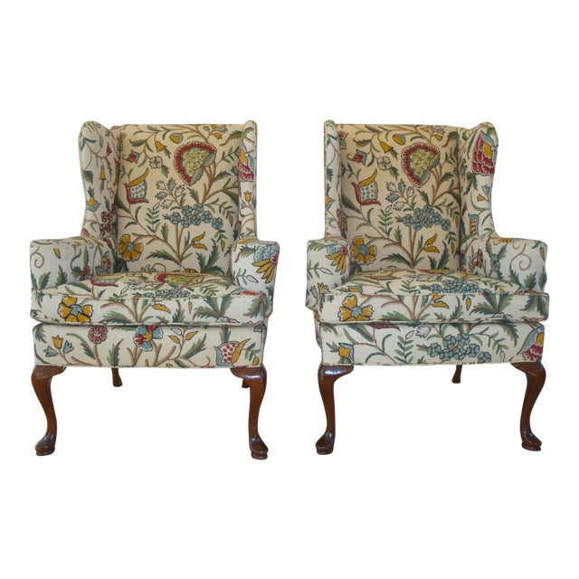 vintage hickory chair crewel embroidered wingback chairs a pair